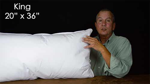 What are the most common size pillows used in bedding for Dreamfinity king size pillow