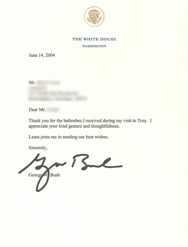 President Bush wears our Spa robe